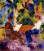 Auguste Macke - At The Garden Table