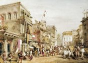 William Prinsep - A Busy Street Scene In India
