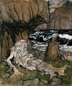 Arthur Rackham - A Crowned 'Merman' a Sea God Sleeping On a Rocky Shore