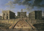 Roman School - A View of The Piazza Del Campidoglio, Rome