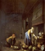 Hendrik Martensz Sorgh - A Kitchen With a Kitchen Maid