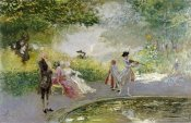 Mose Bianchi - Elegant Figures By An Ornamental Pond