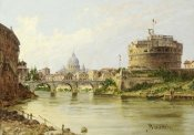 Antonietta Brandeis - The Tiber With The Castel Sant'Angelo and St.Peter's, Rome