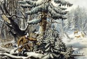 Nathaniel Currier - American Winter Sports - Deer Shooting on The Shattagee
