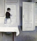 Vilhelm Hammershoi - Interior With a Woman Reading a Letter