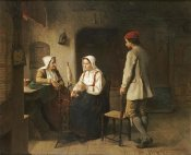 Sven Victor Helander - A Peasant Woman Spinning In An Interior