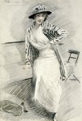 Paul-Cesar Helleu - Madame Paris Sitting on Bench