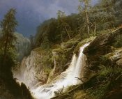 Hermann Herzog - Western Waterfall