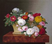 Johan Laurents Jensen - Still Life of Roses In a Basket on a Ledge