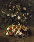 Johan Laurents Jensen - Roses In a Basket Beside a Rose Bush