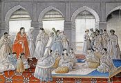 Lucknow School - The Royal Harem Playing Pachisi In a Lucknow Palace