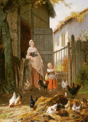 Eugene Remy Maes - Feeding The Chickens