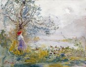 Pompeo Mariani - A Peasant Girl and Ducks