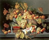 Severin Roesen - Still Life With Fruit and a Glass of Champagne