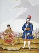 Tanjore School - A Moghul Nobleman With His Wife