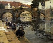Frits Thaulow - Washerwomen In The Morning at Quimperle