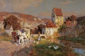 Wilhelm Velten - A Horse and Carriage By a River