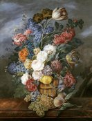 Marie Von Pachner - A Still Life of Mixed Flowers In a Vase on a Stone Ledge
