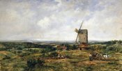 Frederick Waters Watts - An Extensive Landscape With Figures By a Windmill