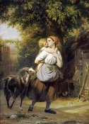 Fritz Zuber-Buhler - A Mother and Child With a Goat on a Path