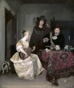 Gerard ter Borch - Young Woman Playing The Theorbo To Two Men