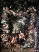 Jan Brueghel the Elder - Holy Family W/ Wreath of Fruit & Flowers