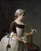 Jean-Baptiste-Siméon  Chardin - Girl With Racket and Shuttlecock