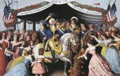 Currier and Ives - Washington's Reception, On The Bridge Trenton