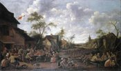Joost Cornelisz Droochsloot - Peasants Feasting On a Village Street