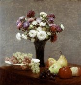 Henri Fantin-Latour - Still Life With Dahlias and Fruit