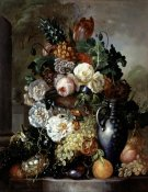 Francois Joseph Hyugens - Still Life of Fruit and Flowers