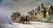 John Charles Maggs - Salisbury In Winter: Coach Arrives at The Star Inn