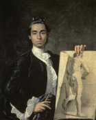 Luis Egidio Melendez - Portrait of The Artist Holding a Life Study