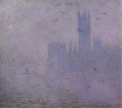 Claude Monet - Seagulls (The River Thames & Houses of Parliament, London)