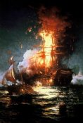 Edward Moran - Burning of the Frigate Philadelphia Tripoli Harbor, Feb 16, 1804