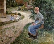 Camille Pissarro - The Servant Seated in the Garden of Eragny