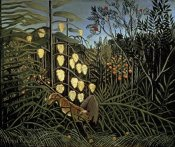 Henri Rousseau - Tropical Forest: Battling Tiger & Bull