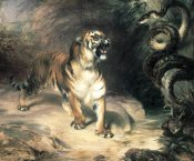 William Huggins - Tiger Confronting a Snake by a Stream