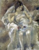 Jules Pascin - Young Girl Seated With Flowers