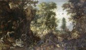 Roelandt Savery - The Garden of Eden with Eve Tempting Adam