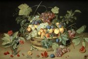Jacob Van Hulsdonck - A Still Life of Fruit & Flowers in a Basket
