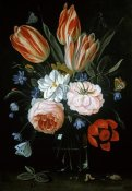 Jan Van Kessel - Tulips and Roses In A Glass Vase