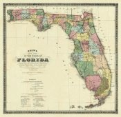 Columbus Drew - New Map of The State of Florida, 1870