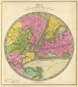 Jeremiah Greenleaf - Map of the Country Twenty Five Miles Round The City of New York, 1840