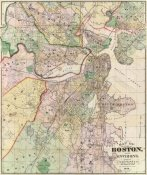 G.M. Hopkins - Map of The City of Boston and its Environs, 1874