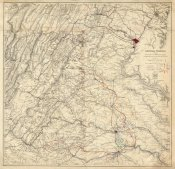 United States War Department - Civil War Map Showing Lieut General U.S. Grant's Campaign and Marches Through Central Virginia, 1865