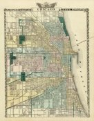 Warner and Beers - Map of Chicago City, 1876