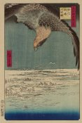 Ando Hiroshige - Hawk flying above a snowy landscape along the coastline., 1857