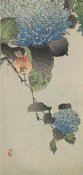 Unknown 19th Century Japanese Printmaker - Small bird and hydrangea