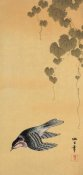 Unknown 19th Century Japanese Printmaker - Small bird and grapes